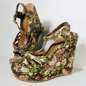 Jeffrey Campbell Floral Swansong Wedge Sandals
